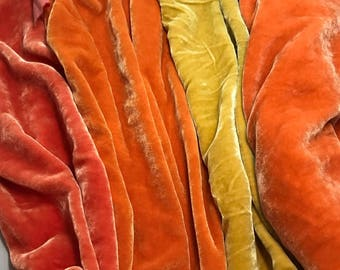 "Light Autumn Sample Set - Hand Dyed Silk Velvet Fabric - 9""x22"" Each"
