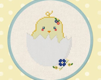 Chick Hatchling. Spring.  Nursery Decor. Modern Simple Cute Cross Stitch Pattern PDF Instant Download