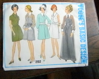 Vintage Vogue Pattern #2152 Retro Shirt Style Dress with Large Pointed Collar Size 12