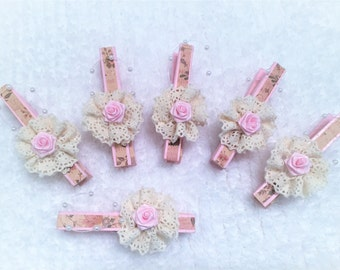 Clothespins, Package Toppers, Embellished Supplies, Banner Pins, Garland Pins, Scrapbooking, Cards, Tags, DIY Magnets, Lace Rosette Pins