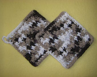 Two Bumpy Cotton Washcloths, handmade crochet washcloth dishcloth set - brown, tan, and white, Chocolate Ombre