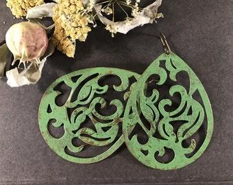 Statement Earrings Bohemian Lace Boho Earrings Lace Filigree Verdigris Green Moroccan Dangle Bold Gypsy Earrings Large Drops Hand Patinaed