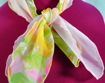 Vintage 1970s  Pair of Nylon Scarves with Scallop Edges - One is Flowered and One is Plain Pink - Neck or Ponytail Scarf
