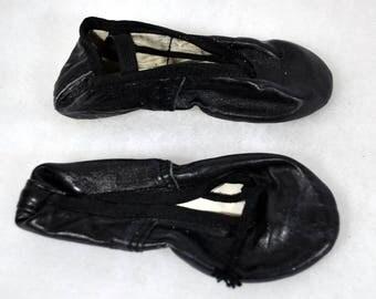 Vintage Toddler  Ballet Slippers - Black Ballet Slippers - New Old Stock - NOS - Size 8C