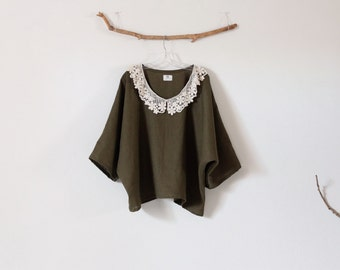 lace collar over size olive linen top ready to wear