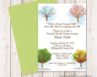 Printable Bridal Shower Invitation, Four Season Bridal Invitation, Custom Wording, Print Yourself, JPEG File