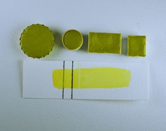 Half Pan or Small Cap - Daffodil Mayan Yellow, Anthesis Arts Artisanal Handcrafted Handmade Watercolor Paints, Choose Your Size
