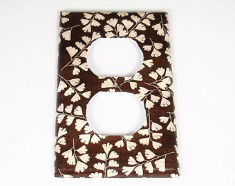 Outlet Switch Plate Light Switch Cover Wall Decor Light Switchplate  in Brown Leaves  (267O)