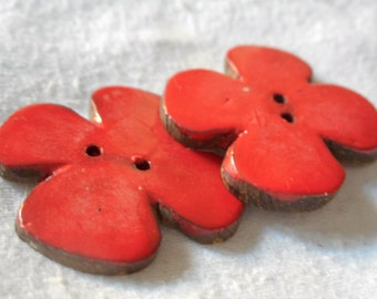 Set of 2 VINTAGE Red Orange Painted Coconut Shell Realistic Flower Sew Thru BUTTONS
