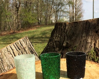 12 Glitter Votive Candle Holders Wedding Party Favors Absinthe Iridescent Green Emerald Black Onyx Table Centerpiece Reception Tealight