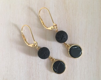 Lava Rock and Black Turquoise Earrings