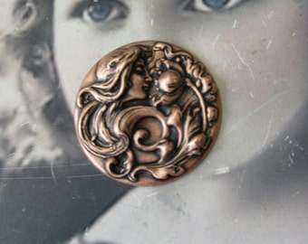 Copper Ox Plated Art Nouveau Women and Flower Stamping 749COP x1