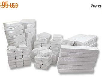 Spring Sale 10% off 50 Box Assortment White Cotton Filled Jewelry Presentation Boxes