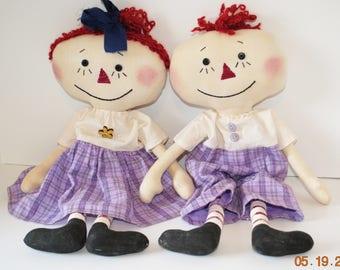 "Primitive Lil Raggedy Dolls, 18"" Anne and Andy type rag doll set, Purple Homespun"