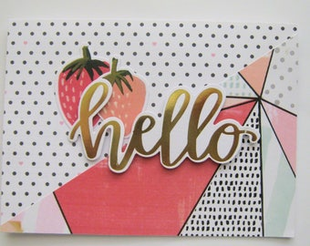 Handmade greeting card - Hello - Encouragement - friend - modern
