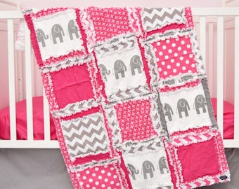Elephant Crib Bedding- Gray / Hot Pink Bedding Crib Set- Jungle Bedding- Safari Baby Bedding- Whimsical Nursery- Rag Blanket / Sheet / Skirt