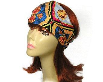 Boho Head Wrap Bohemian Head Wrap Boho Headband Yoga Headband Red Blue Gray Gold Head Wrap Print Lycra Head Wrap Wide Headband Turban