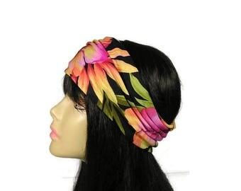 Tropical Print Head Wrap Floral Head Wrap Black Floral Head Wrap Floral Headband Summer Head Wrap Summer Headband Flower Head Wrap Headband