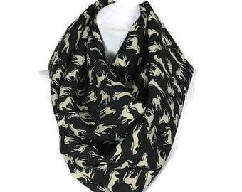 Equestrian Scarves Horse Scarves Equestrian Infinity Scarves Equestrian Scarf Horse Scarf Animal Scarves Black and Beige Horse Fashion Scarf