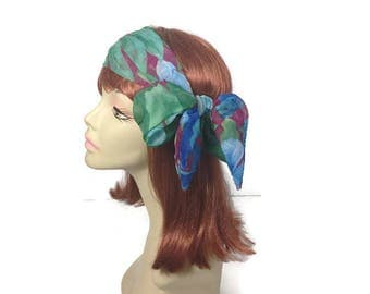 Chiffon Summer Headscarf Summer Headscarves Blue Green Purple Tropical Headscarf Lightweight Headscarves Lightweight Hairscarves Scarves