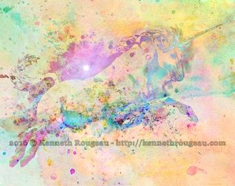 Unicorn - 11x14 Fantasy Fine Art Digital Watercolor Unicorn Print by Kenneth Rougeau