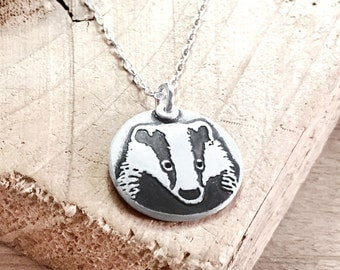 Badger necklace, silver badger pendant,