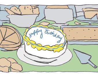 birthday card / birthday cake card / blank greeting card