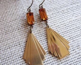 Brass Art Deco Earrings, Long, Topaz Rectangle, Modern Earrings, Gardendiva