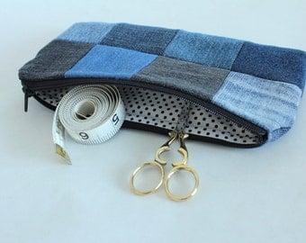 Patchwork Zipper Pouch, Upcycled Denim, Tiny Dot