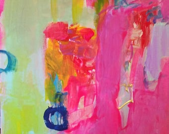 Pink. lavender, jewels, abstract modern, expressionism, aqua