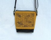 MINI PURSE  //  Bees // Hand Printed  Small Purse // Small Cross Body Bag //  Hip Bag