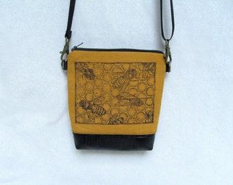 MINI PURSE  //  Bees // Hand Printed  Small Purse // Small Cross Body Bag //  Hip Bag