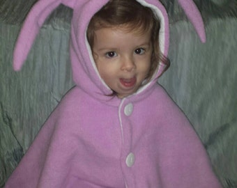 Bunny clothes purple cape bunny clothing in soft fleece with white lining 2T -3T handmade