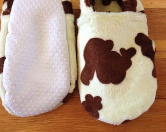 Free shipping- Minky Fleece Slippers with Grip Tight Soles (6.5 inch soles/shoe sizes 8.5 to 9.5 kids).