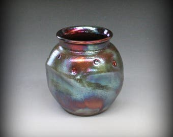 Raku Altered Pot in Jewel Metallic Iridescent Colors