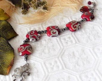 Sale......One of a Kind Sterling Silver, Lampwork Glass and Hematite Bracelet