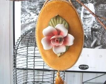 Vintage Velveteen Wall Hanging with Porcelain Rose