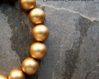 Matte Bead, Gold Bead, Lucite Beads, Vintage Beads, Jewerly Supplies, 9mm, 30 Beads
