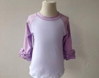 Ruffle Raglan - Monogram Shirt - Baseball Shirt Monogram - Icing Raglan - Icing Shirt - Girls Monogram Shirt - Lavender Raglan - Birthday