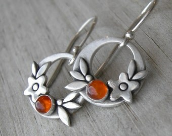 Summer Happiness Baltic Amber Sterling Silver Earrings PMC Artisan Jewelry