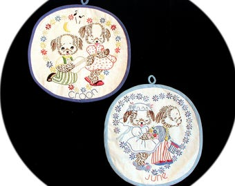 1920's Antique June and Croon Pot Holders Embroidered Puppies Dogs Peck N Swoon