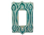 Moroccan Ceramic Light Switch Cover- Single Rocker Decora GFI Outlet In Sapphire Blue Glaze