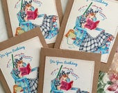 Retro Birthday Note Card Set Vintage Style Well Wishes 4 Large Greeting Cards