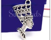 6 Silver Egyptian Pendants, Queen Nefertiti Pendant 39mm, Pharaoh Charms, PS16