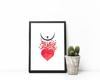 Moon heart. Art print