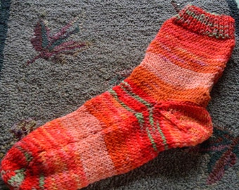 SALE Hand Knit Hand Dyed   Wool Socks  Womens Size X-Large 10-11  Carrot Patch