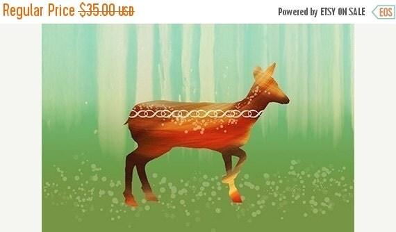 50% Off - Black Friday Deer Art Print - Morning in the Forest - 12x18 - woodland modern art
