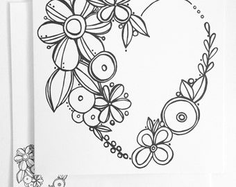 Floral Wreath Coloring Card