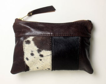 Mini Cowhide Clutch Bag Leather Pouch Purse