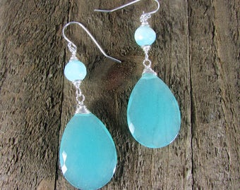 Chalcedony & Sterling Earrings, Light Blue Gemstone, Gemstone Jewelry, Long Dangles